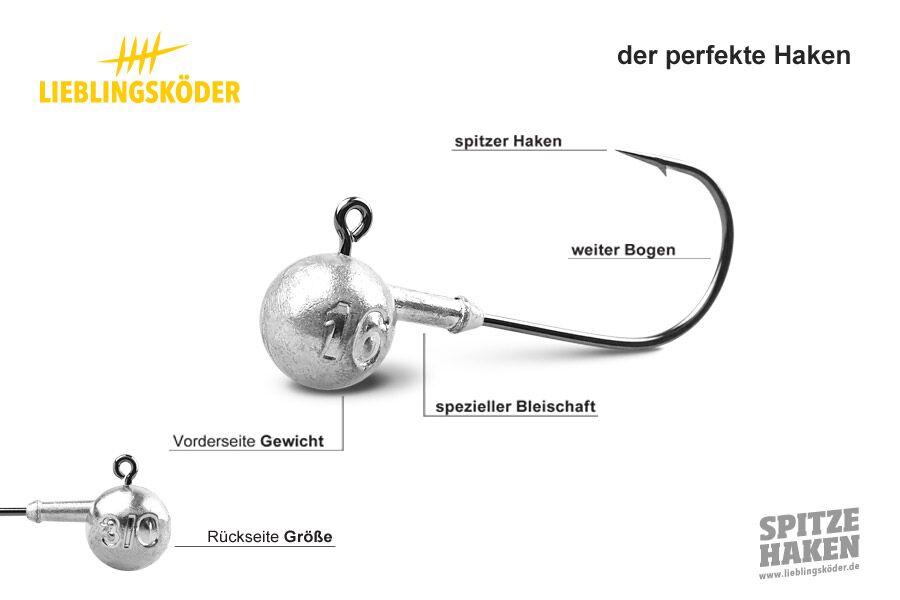 Lieblingsköder Spitze Haken 5//0-16g Jigkopf Haken für 15cm Gummiköder